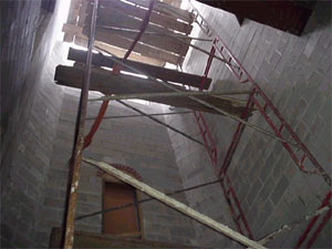 Inside view of bell tower.