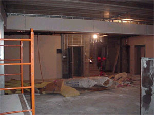 Construction in fellowship hall.