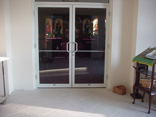 New Glass Doors Seperating The Vestibule from the Sanctuary