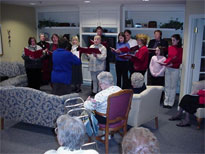 The choir sang at the Victorian Village Assisted Living Center.