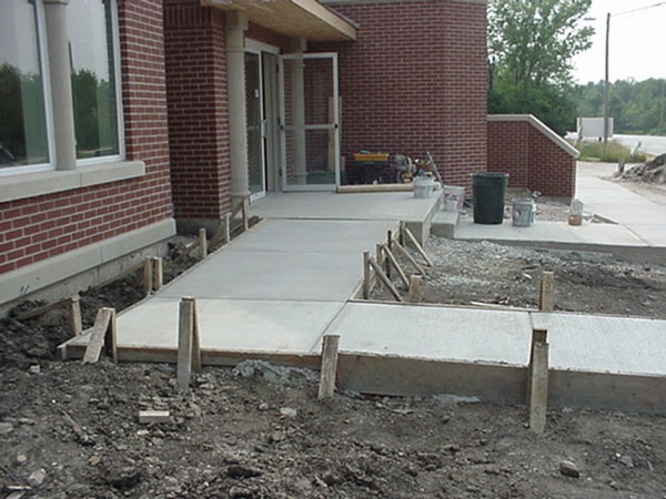 Handicapped ramp poured leading to front door