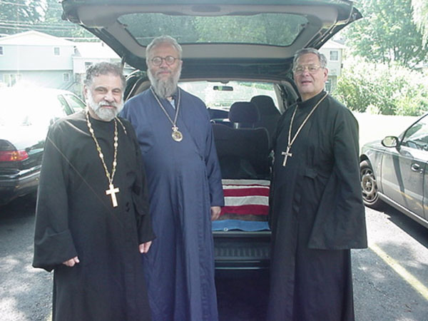 The bishop pictured is Bishop Seraphim retired bishop of Japan and Fr. Lisenko.