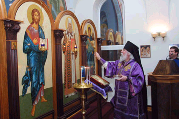 Bishop Job blesses iconastasis.