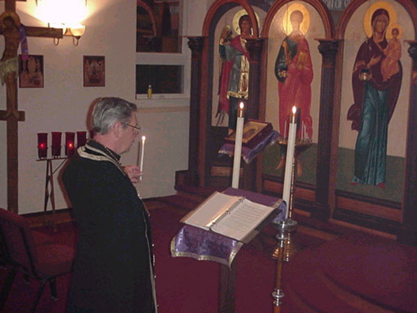 Father Harrison reads the Canon of St. Andrew of Crete.
