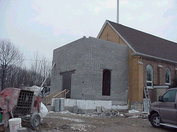 Cinder blocks define the new entrance for the Church.