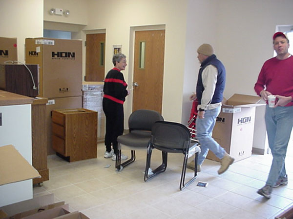 With the held of a rag tag crew of movers, the furniture was unloaded.