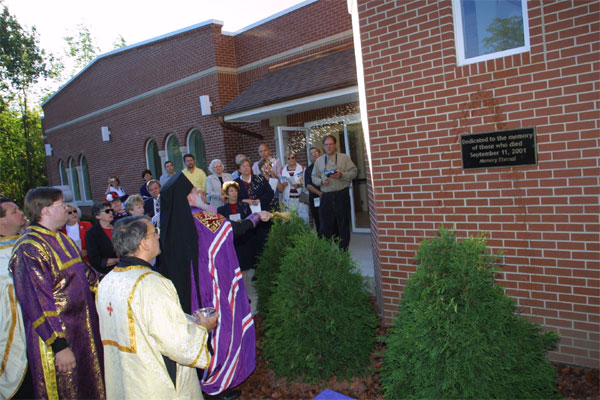 Bishop Job leads service to bless the belltower.