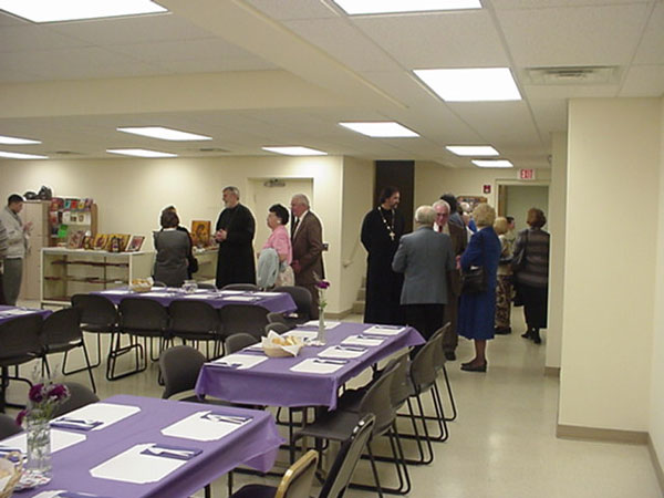 Guests and Parishioners gather for fellowship.
