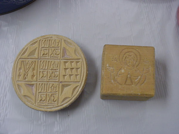 Molds for making altar bread.
