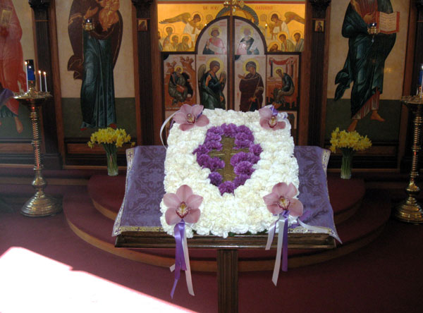 Cross adorned with flowers