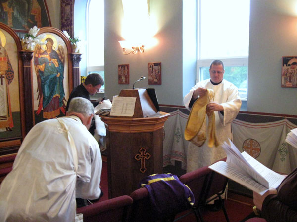 Scene from Holy Saturday Liturgy.