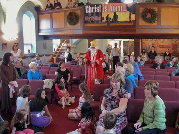 Scene from Children's Sermon For December And A Visit From St. Nicholas.