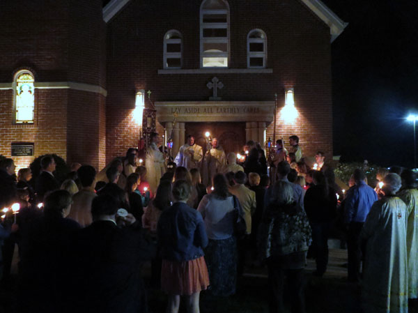 Scene from Holy Week - Holy Saturday Liturgy.