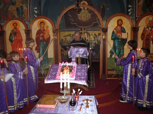 Scene from Holy Unction Service.