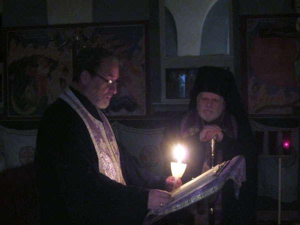 Father Jannakos reads the Canon of St. Andrew of Crete.