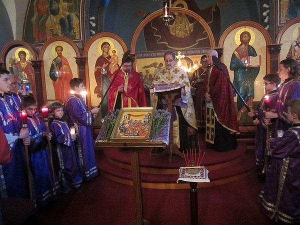 Icon of Christ with the Oil of Holy Unction .