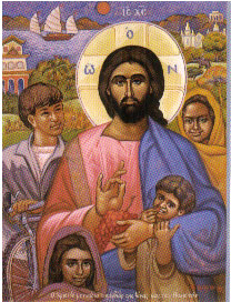 Icon of Christ and the children of Asia.