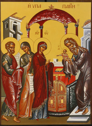 An icon of the Meeting of Christ in the Temple.