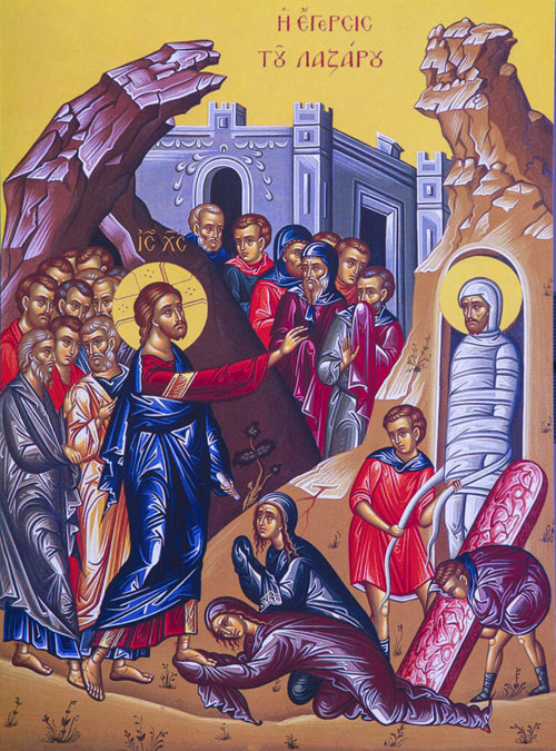 An icon of the Raising of Lazarus - Lazarus Saturday.