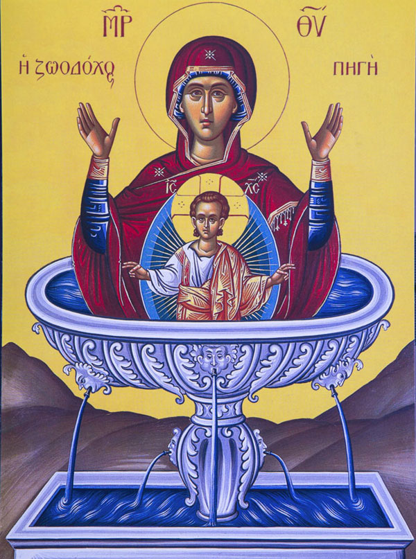 An icon of The Life-giving Spring of the Most Holy Theotokos- Bright Friday.