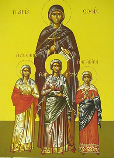 An icon of St. Sophia And Her Children: Faith, Hope, And Love.