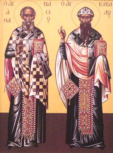 An icon of St. Athanasius the Great and St. Cyril of Alexandria.
