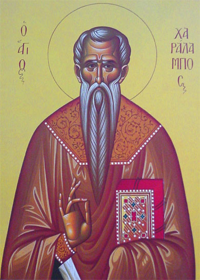 An icon of St. Charalampios.