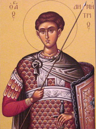 An icon of St. Demetrius Great Martyr and Myrrh-gusher of Thessalonica.