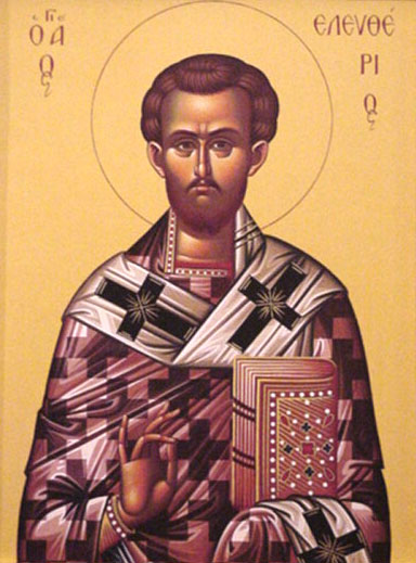 An icon of St. Eleutherios Hieromartyr.