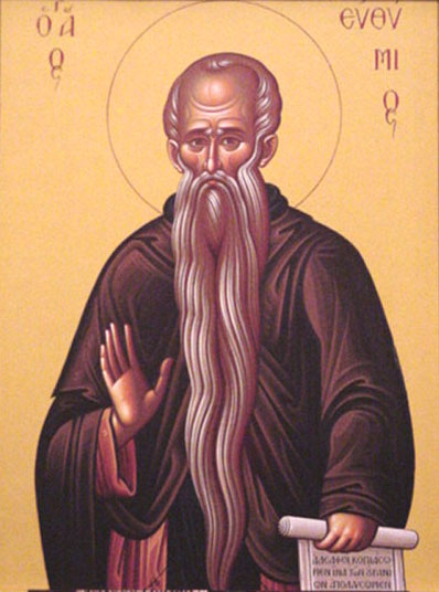 An icon of St. Euthymius the New, of Thessalonica, Monk of Mt. Athos .