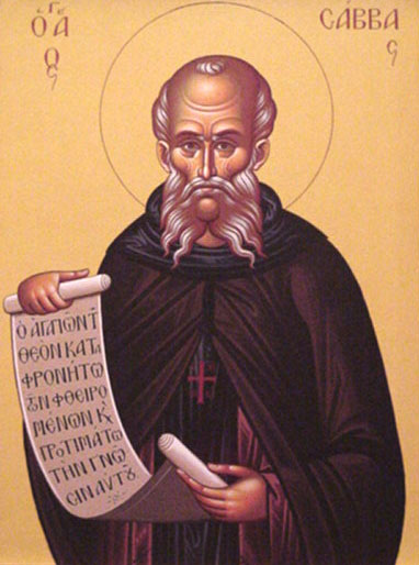 An icon of St. Sabbas the Sanctified.