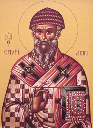 An icon of St. Spyridon the Wonderworker.