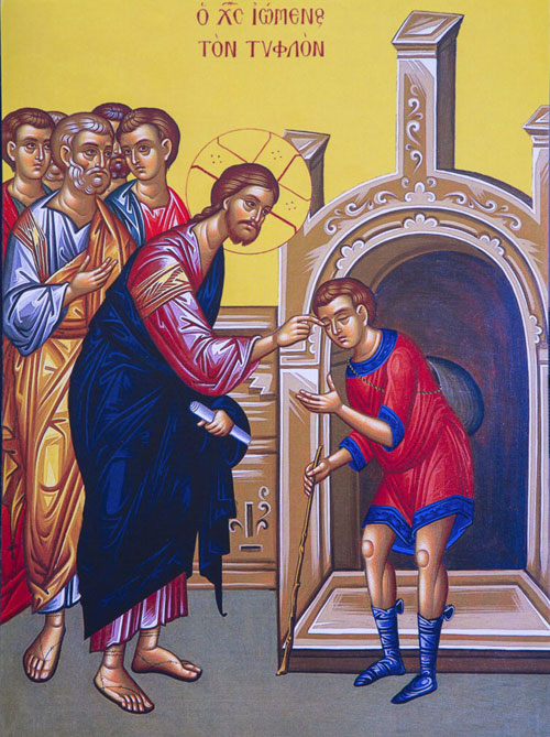 An icon of The Blind Man - Sixth Sunday of Pascha.