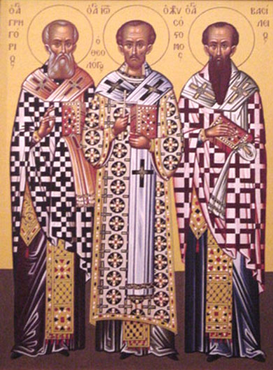 An icon of Icon of Three Holy Hierarchs, St. Basil the Great, St. Gregory the Theologian, St. John Chysostom .
